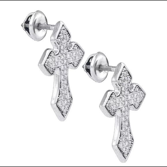 35d1381957cf Sterling Silver Mens Diamond Cross Earring 1 5CTW
